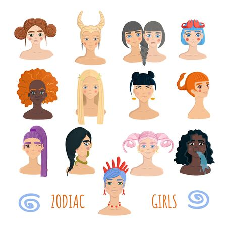 Zodiac girls collection isolated on white background. Female diversity concept. Different hairstyles and nationalities. Twelve portraits of women demonstrating zodiac signs.
