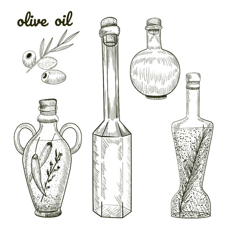 Oil bottles hand drawn sketch isolated on white background. Olives and different bottles shapes illustration. Çizim