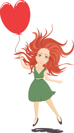 Girl with balloon is flying above the ground. Ginger girl in green dress with heart-shaped balloon isolated on white background. Illustration for greeting card for Saint Valentines Day.
