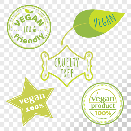 Vegan free labels collection isolated on transparent background. Set of cruelty free emblems that proves animal rights protection. Ilustração
