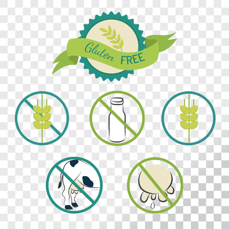 Gluten free labels collection isolated on transparent background. Emblems for caution for people with allergies. Illustration