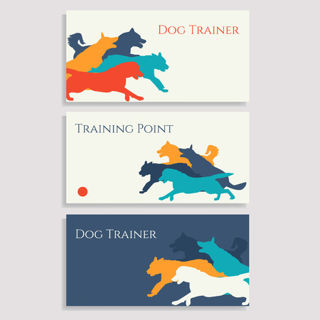 Dog sport brochures. Set of cards with dogs.