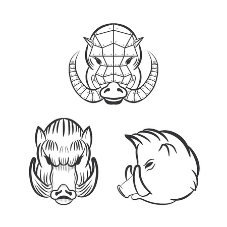 Angry boars with fangs isolated on white background. Three hog set vector for your design.  イラスト・ベクター素材