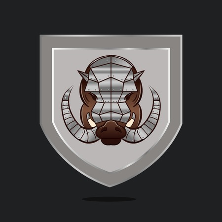 Shield with armored hog head isolated. Angry steel aper on chevron design.
