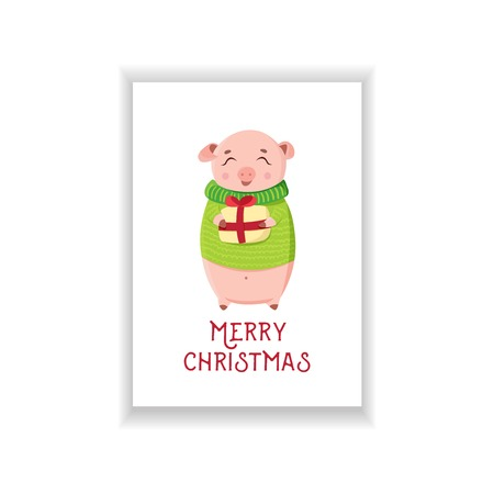 Cute piggy holding wrapped gift on white background. Happy piglet in sweater in winter season. Christmas greeting card 2019.