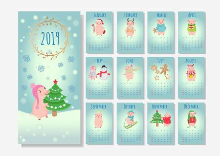 2019 winter holidays calendar for your design.