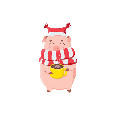 Happy piglet in scarf and hat in winter season.