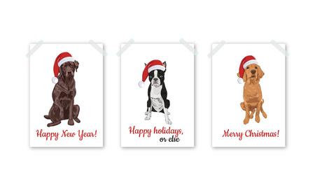 Christmas card set with santa dogs isolated on white background. Dog in Santa hats. Labrador, Boston terrier and Golden retriever.