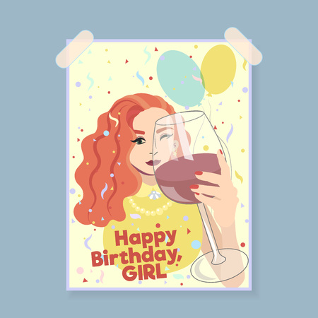 Happy birthday girl card. Greeting card. Ginger girl with glass of red wine cheers.