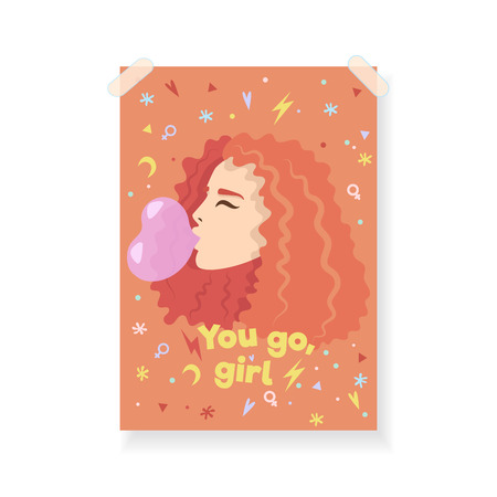 Greeting card with motivational quote for women. You go, girl.