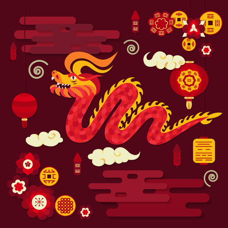 Red grinning dragon with lanterns, flowers, coins and clouds.