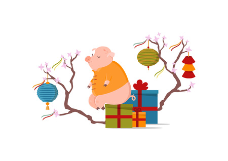 Cute pig sitting on box with gifts. Chinese New Year concept. Blooming tree with festive chinese lanterns and ribbons.  イラスト・ベクター素材