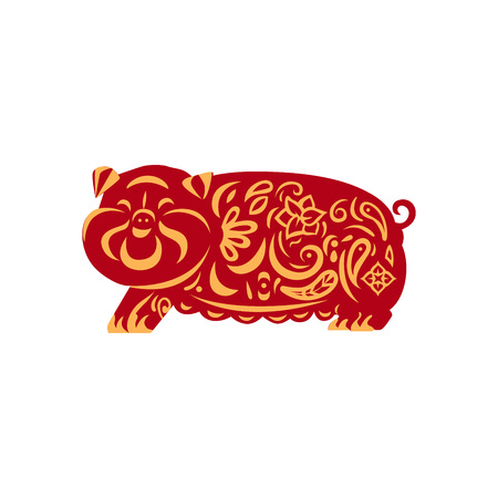 Red piggy yellow ornament as a symbol of 2019 year. Isolated on white background.
