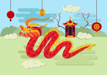Festive chinese lanterns, pavilion, bushes and grass on background. Traditional asian culture mythological beast. Chinese New Year celebration.