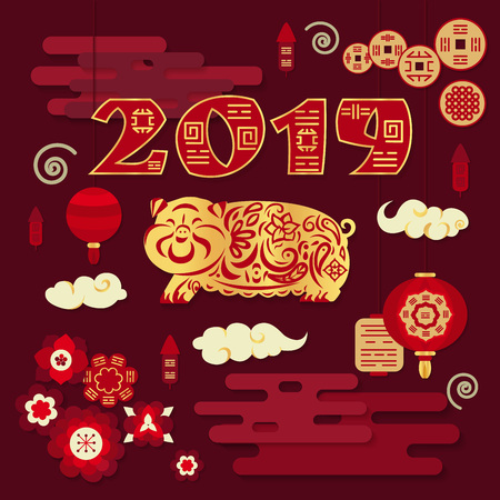 Happy Chinese New Year 2019. Year of pig. Golden pig with ornament. Traditional chinese decorations, lanterns.