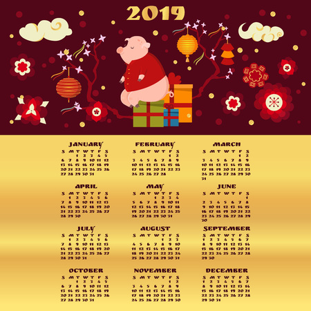 2019 calendar. Cute pig sitting on box with gifts. Chinese New Year concept. Traditional oriental festive decoration.