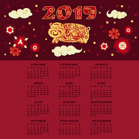 2019 calendar design template in chinese style. Golden pig with ornament with lanterns and flowers.