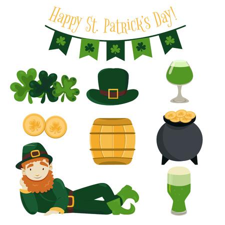 Traditional Irish festival symbols set.
