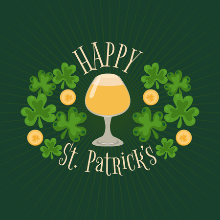 St. Patricks beer festival with clover leaves and leprechauns gold coins. Illustration