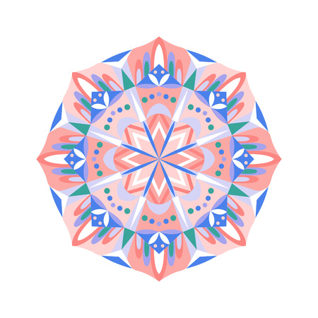 Indian geometrical ornament pattern isolated on white background.