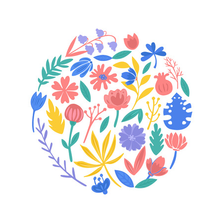 Colorful floral collection with flowers and leaves.  イラスト・ベクター素材