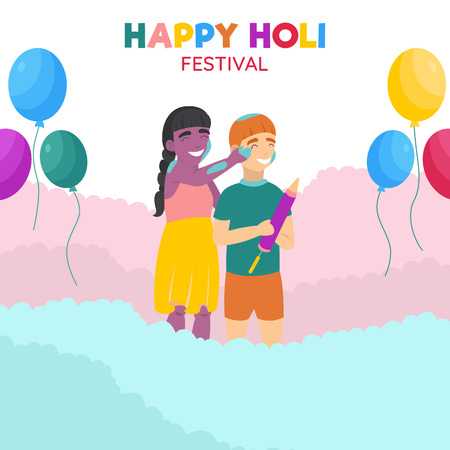 Children playing in colorful dust. Happy Holi festival. Indian Holi festival celebration.  イラスト・ベクター素材