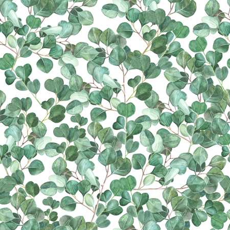 Watercolor eucalyptus hand painted seamless pattern. Green foliage watercolor seamless background. 写真素材