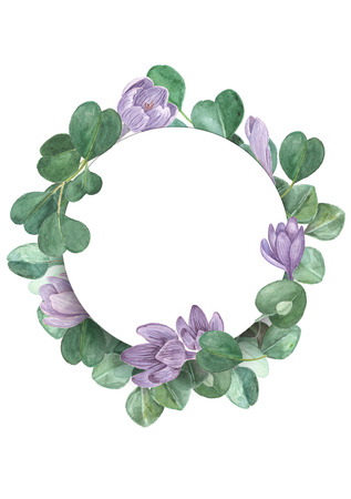 Saffron and eucalyptus watercolor floral frame. Crocus hand painted round frame for invitation. Spring wedding concept. 写真素材