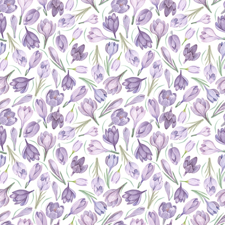 Spring saffron on white watercolor seamless pattern. Violet flowers hand painted watercolor seamless background. 写真素材