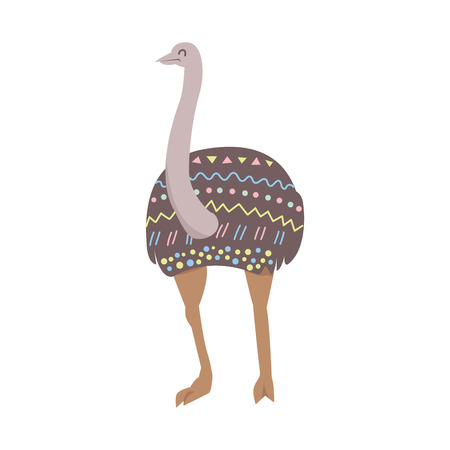 Cute stylized emu with ethnic ornament flat.