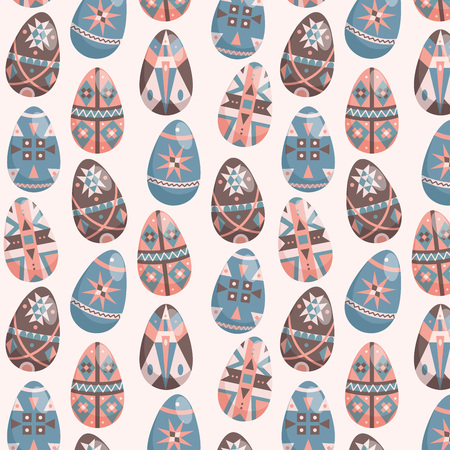 Eater eggs on white seamless pattern. Decorated easter eggs seamless background.