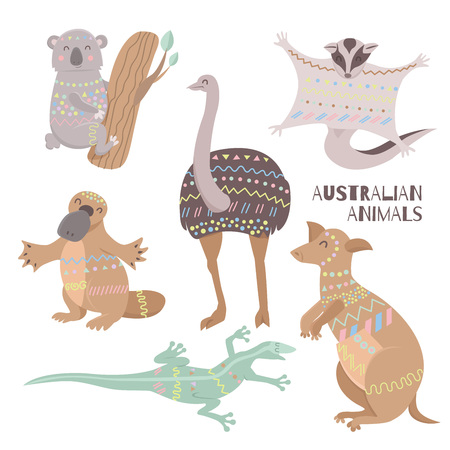 Tribal flat australian animals collection. Fauna symbols of australian continent.