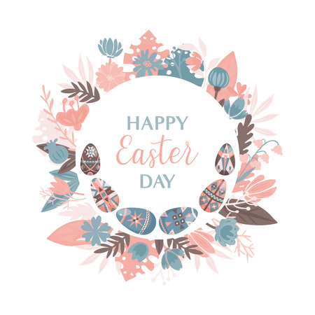 Happy Easter design template with eggs and flowers. Illustration