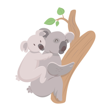 Cute mother koala with her child on a back. Parent concept.