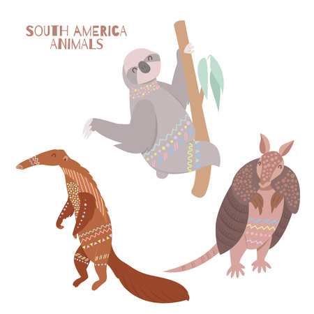 Tribal flat South American animals collection. Fauna symbols of South America.  イラスト・ベクター素材