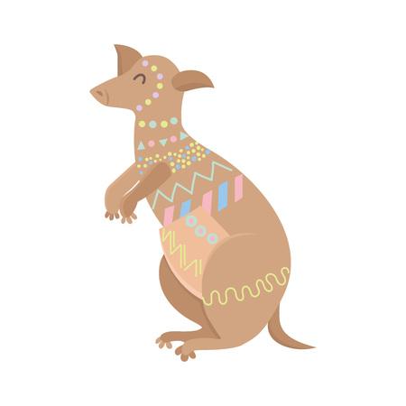 Tribal flat kangaroo standing. Australian animal.