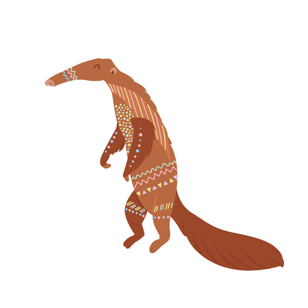 Tribal flat anteater standing. South America animal.  イラスト・ベクター素材