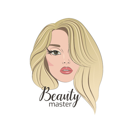 Girl face with makeup for logo of beauty master. Illustration