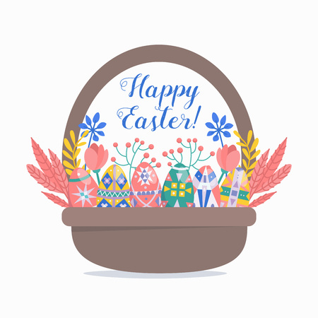 Happy Easter design template with eggs in basket.