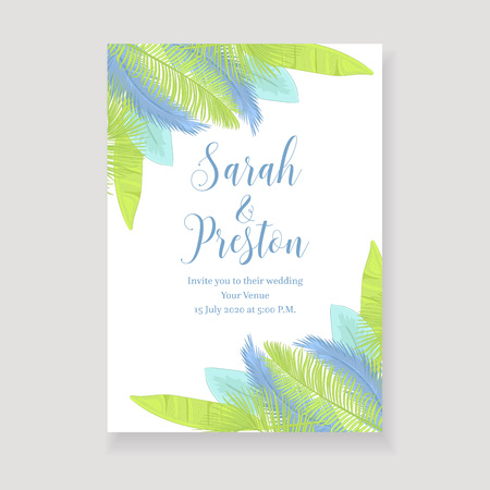 Green and blue tropical leaves wedding invitation card design.  イラスト・ベクター素材