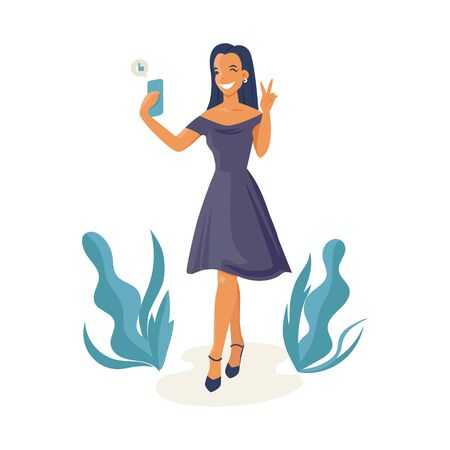 Social media and gadgets concept. Beautiful woman in dress making selfie.