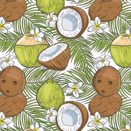 Tropical organic coconut seamless background.