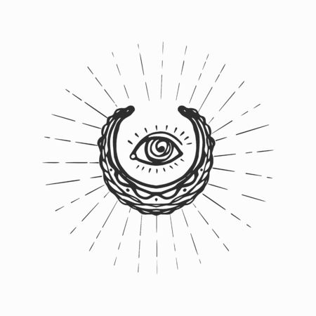 Eye in the center of stylized new moon vector illustration.