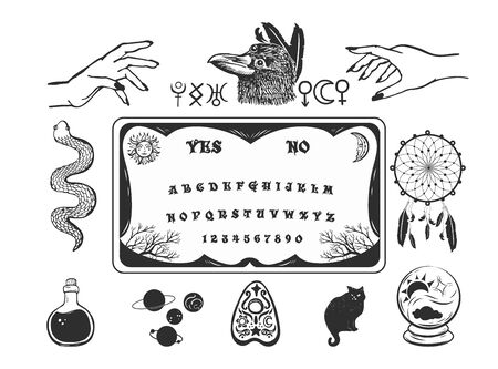 Elements for pagan, magic, halloween or witchcraft theme. Illustration