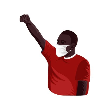 Rioter in mask raised fist on white background.