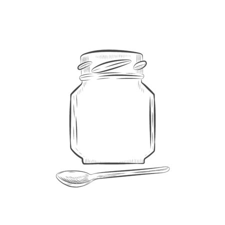 Outline jar and spoon hand drawn illustration isolated on white background. Иллюстрация