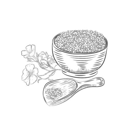 Flax seed hand drawn botanical elements.