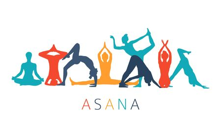 Colorful girl silhouettes in yoga poses on white background.