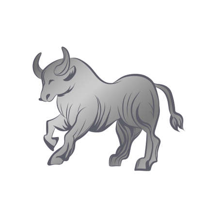 Bull running silhouette vector illustration. Silver ox isolated on white background. 矢量图像