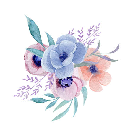 Anemone floral bouquet watercolor illustration.Watercolor botanical composition isolated on white background. Wedding invitation design.